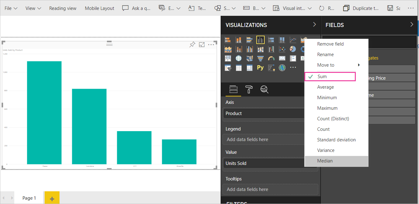 Screenshot of the chart, Visualizations pane and Fields list with Sum called out.
