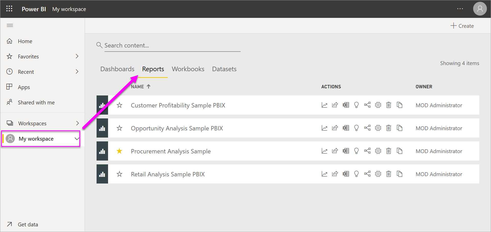 Screenshot of Power B I showing sample Workspace with Reports selected.