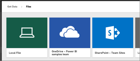 Screenshot of three tiles to select your workspace, showing Local File, OneDrive, and SharePoint.