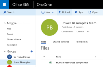 Screenshot of the OneDrive for Business, showing how to navigate to upload a file.