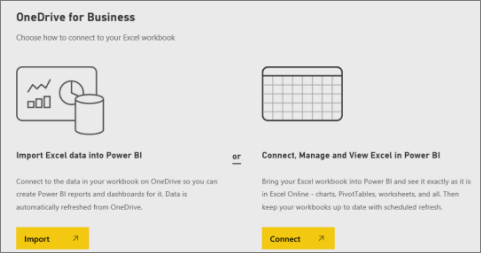 Screenshot of the OneDrive for Business dialog, showing Import from Excel or Connect to Excel.