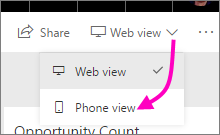 Screenshot of the Web view drop down menu, showing a pointer to the Phone view.