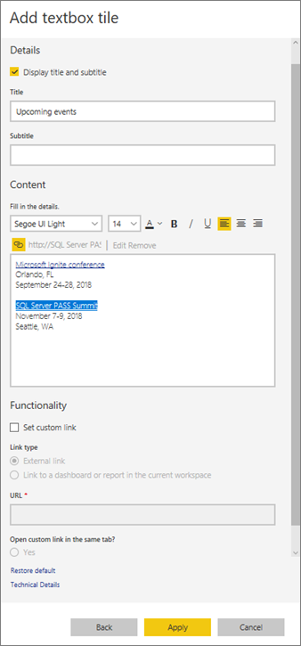 Add images, videos, and more to your dashboard - Power BI
