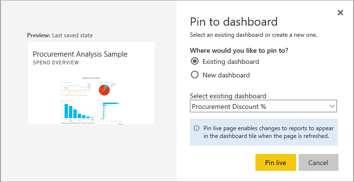 Pin to dashboard dialog