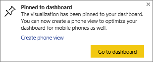 Pinned to dashboard dialog