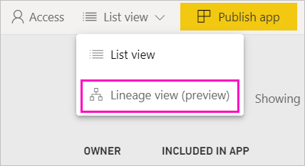 Switch to lineage view