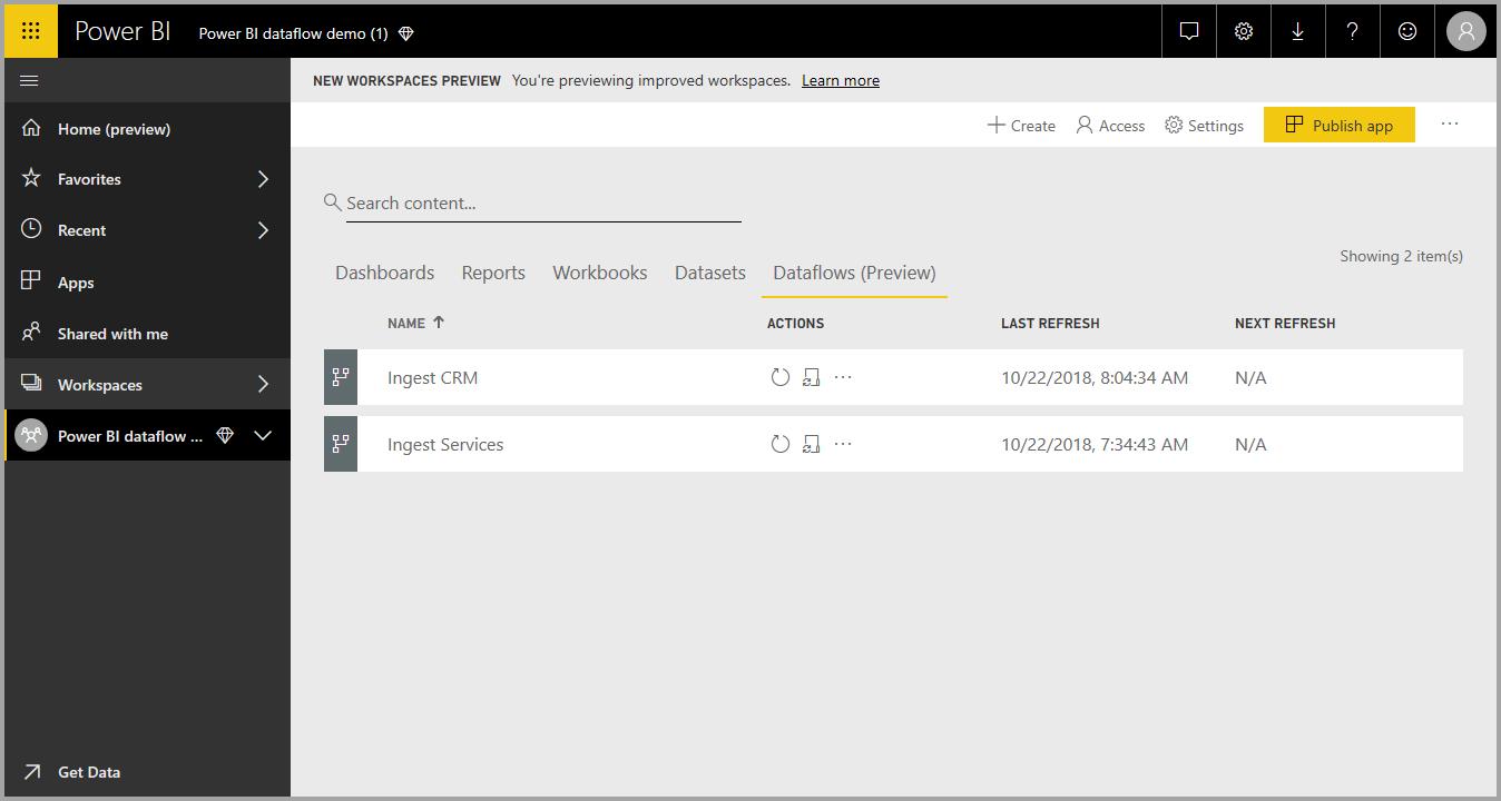 Creating and using dataflows in Power BI - Power BI