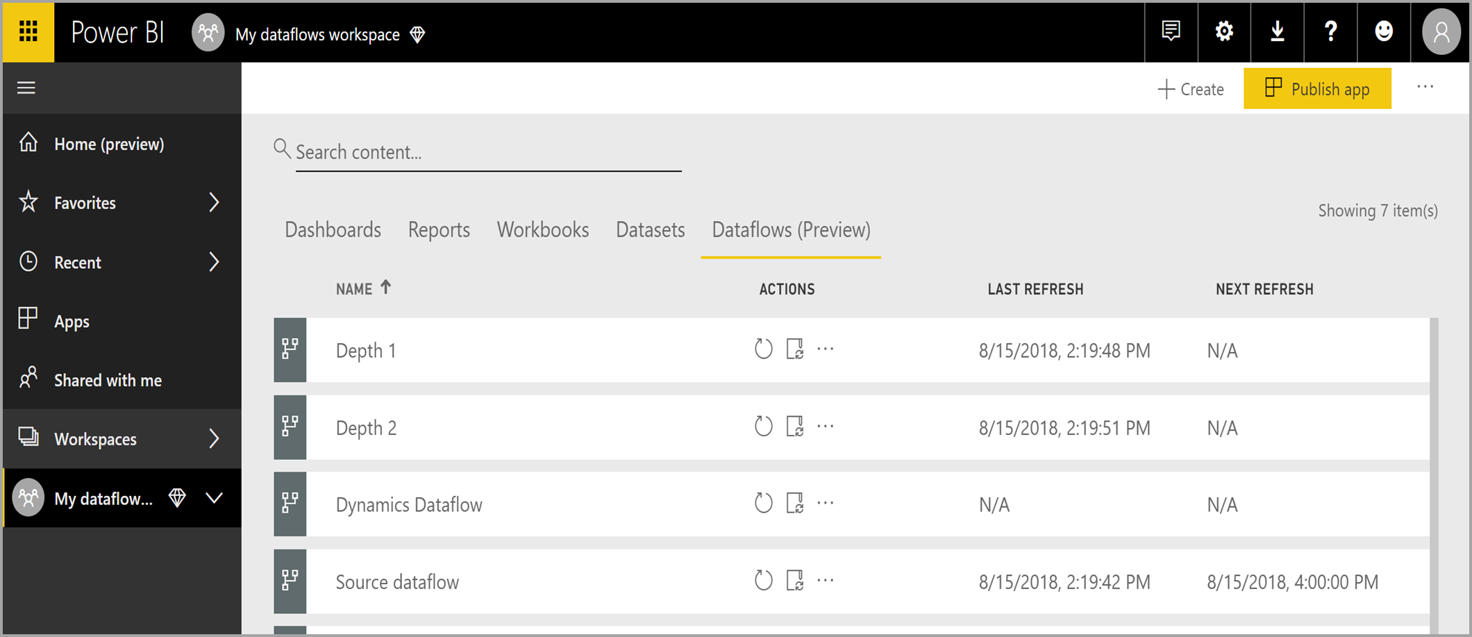 Manage dataflows in the Power BI service