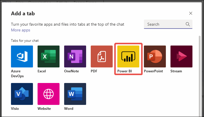 Screenshot of Microsoft Teams tab list showing Power B I.