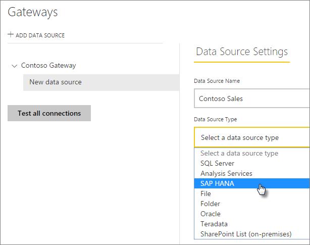 Manage your data source - SAP HANA - Power BI | Microsoft Docs