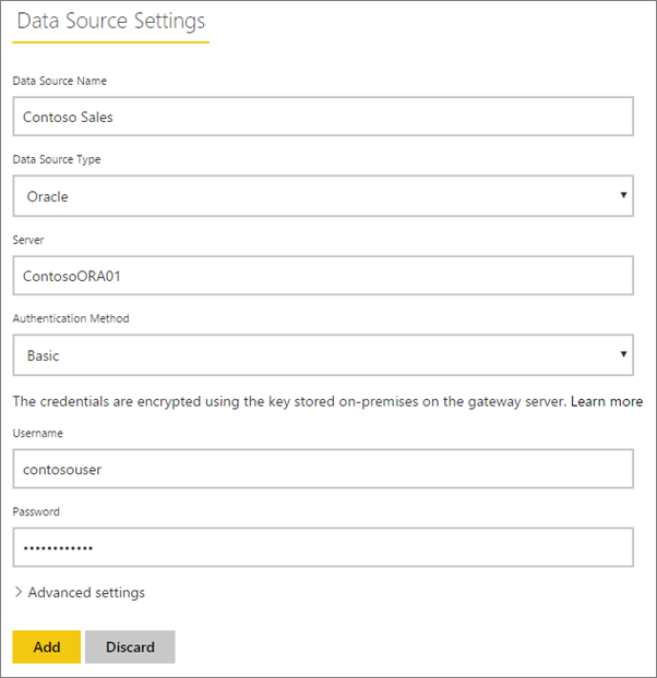 Filling in the data source settings