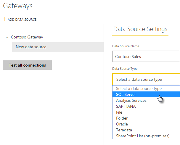 Select the SQL Server data source