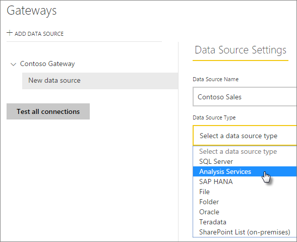 Add the Analysis Services data source