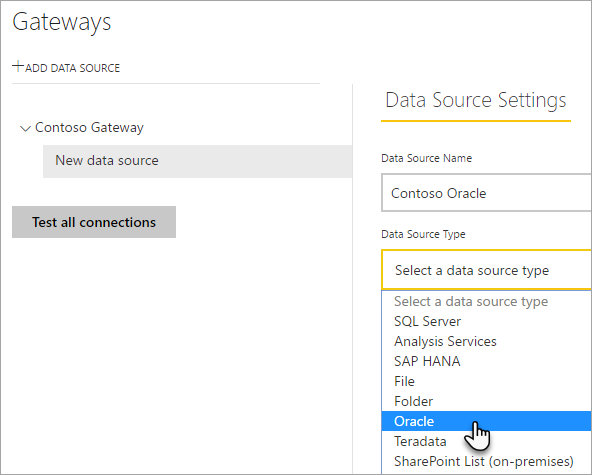 Manage your data source - Oracle - Power BI | Microsoft Docs