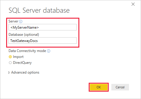 Enter server and database