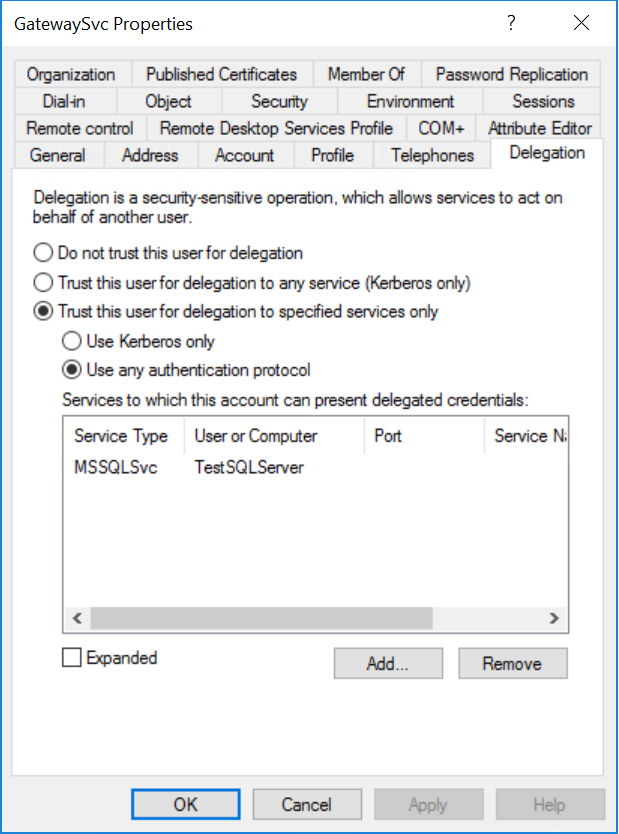 Gateway Connector Properties dialog box