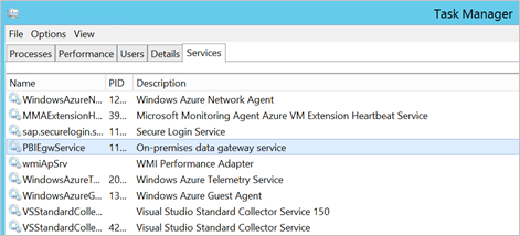 Screenshot of Task Manager Services tab