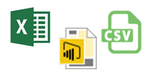 Excel, Power B I Desktop, and C S V icon