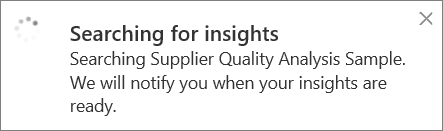 Searching for insights dialog