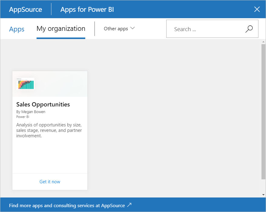 Screenshot of the Sales Opportunities content pack in the AppSource dialog box.