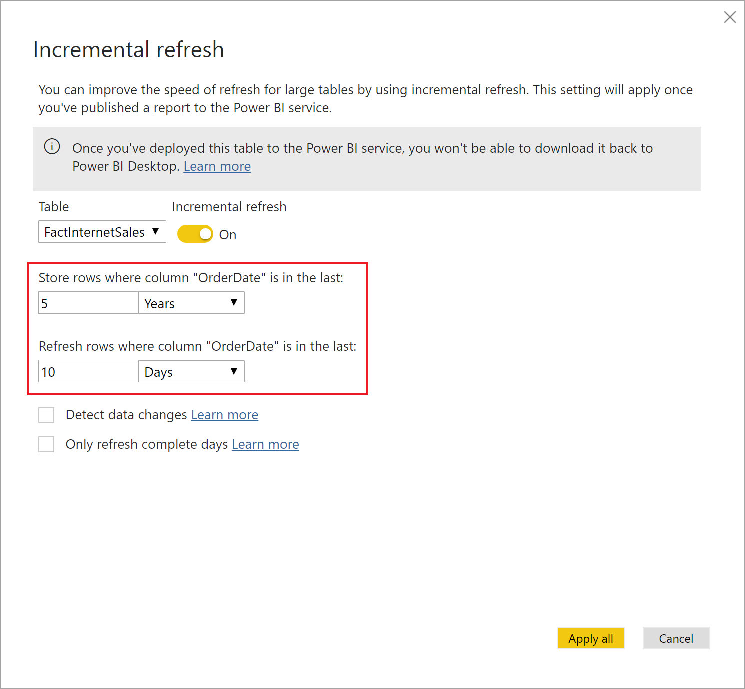 Incremental refresh in Power BI Premium - Power BI | Microsoft Docs