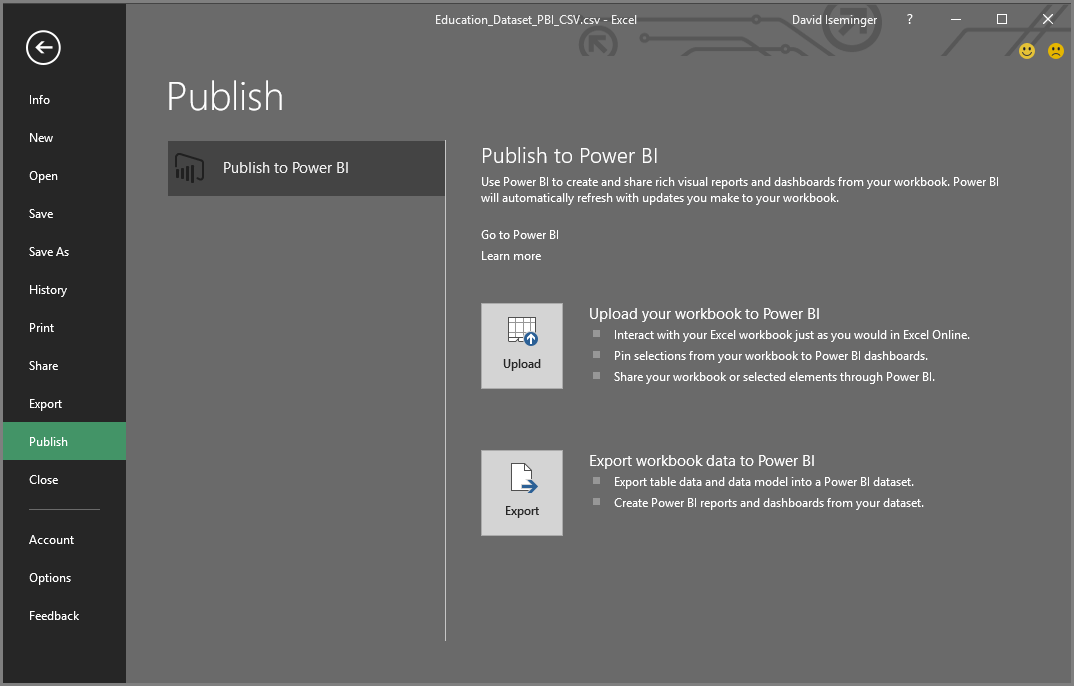 Publish to Power BI from Excel 2016 - Power BI | Microsoft Docs