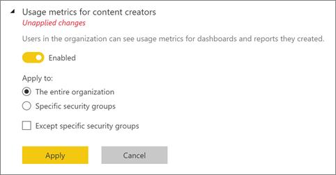 Usage metrics enabled
