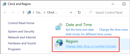 Clock and region settings