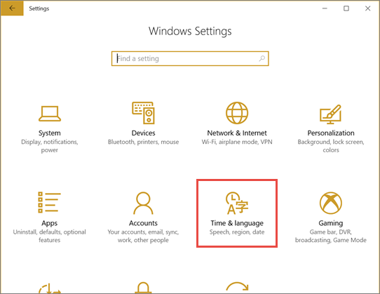 Windows settings dialog box