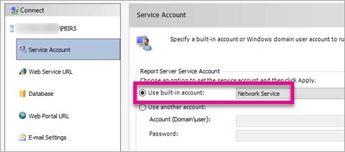 Configure report server service account