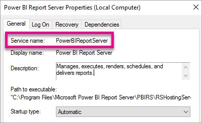 Report Server Windows Service properties