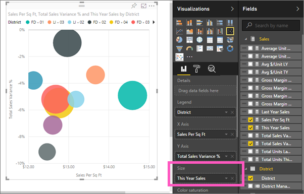 Scatter charts in power bi power bi microsoft docs create a bubble chart ccuart Gallery