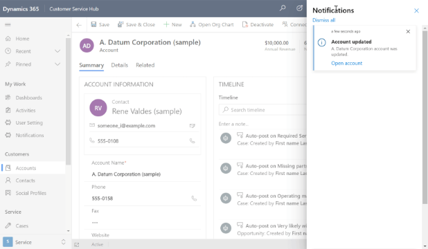 Model-driven app in-app notification center