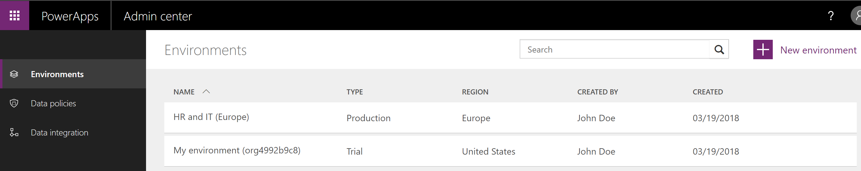Manage environments in the PowerApps Admin center - Power Platform