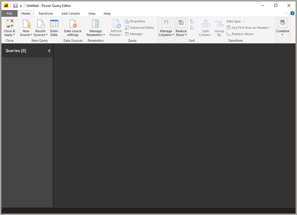 A blank Power Query Editor screen
