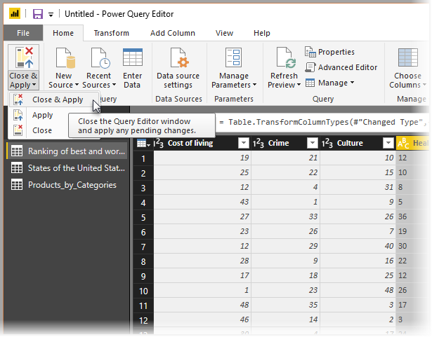 Close and load your query to Power BI Desktop
