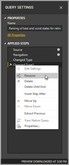 Renaming a step in Query Settings