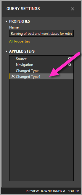 The Query Settings pane