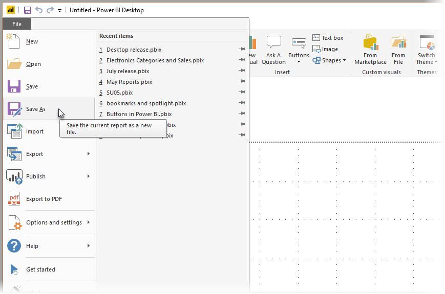 Save your Power BI Desktop report