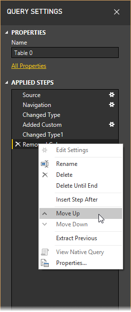 Move up in Query Settings