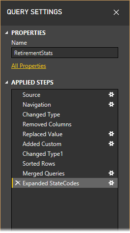 Query settings for Power Query Editor
