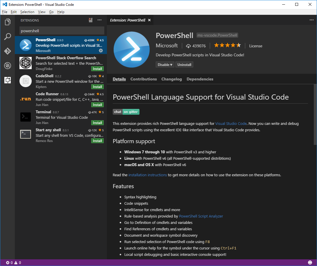 Using Visual Studio Code for PowerShell Development | Microsoft Docs