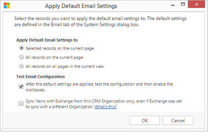 Apply default email settings
