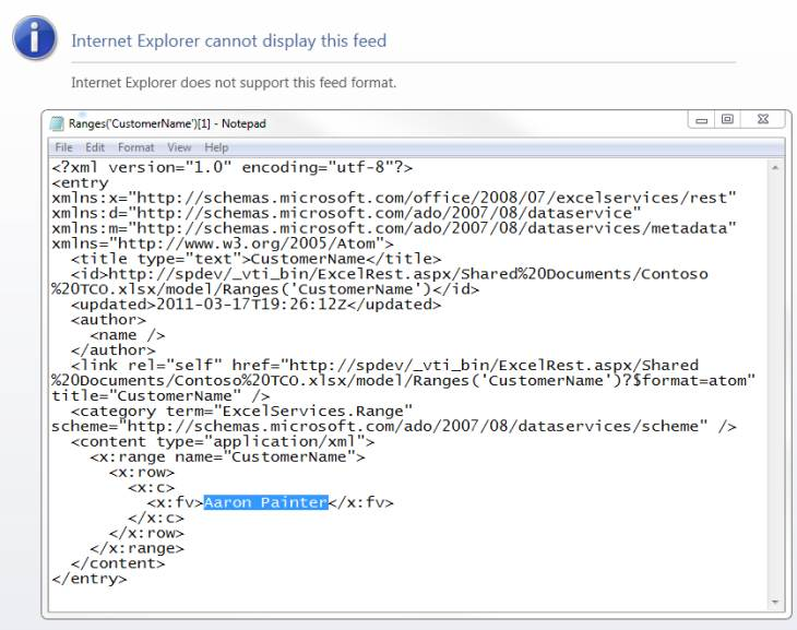 Using the Excel Services REST API to Access Excel Data in