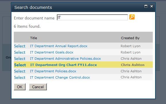 Selected document in search results