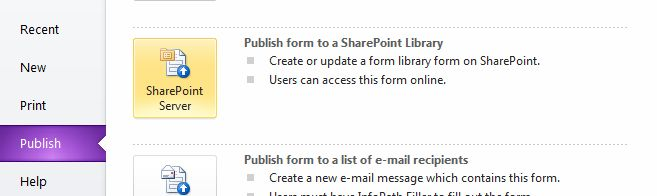 Publishing form to SharePoint Server
