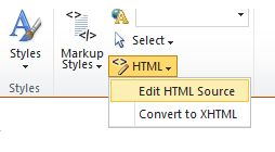 Edit HTML Source on the ribbon