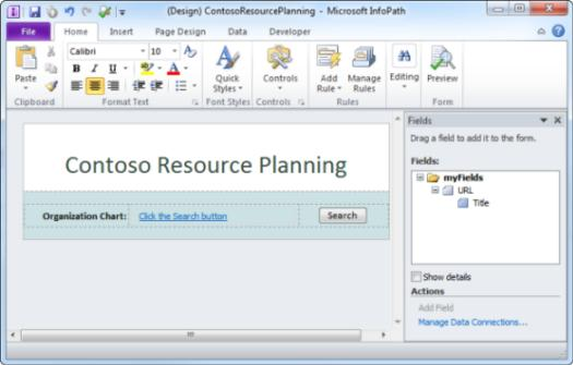 Contoso Resource Planning form