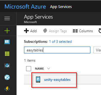 Use Azure Easy Tables and the Mobile Apps SDK with Unity