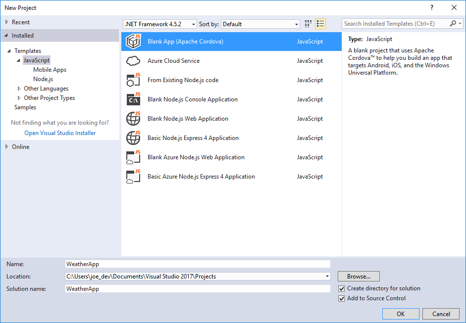 Getting started with visual studio tools for apache cordova visual studio new javascript project pronofoot35fo Choice Image